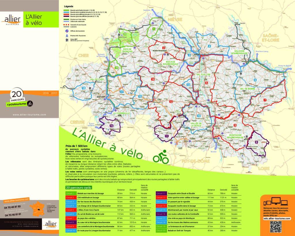 Les circuits à vélo dans l'Allier